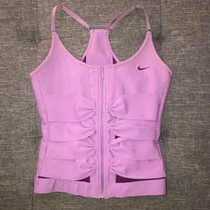 Nike Front Zipper Work Out Top With Bow Details